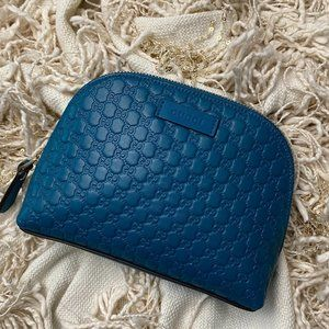 GUCCI Guccissima Deep Cobalt Leather Cosmetic Case